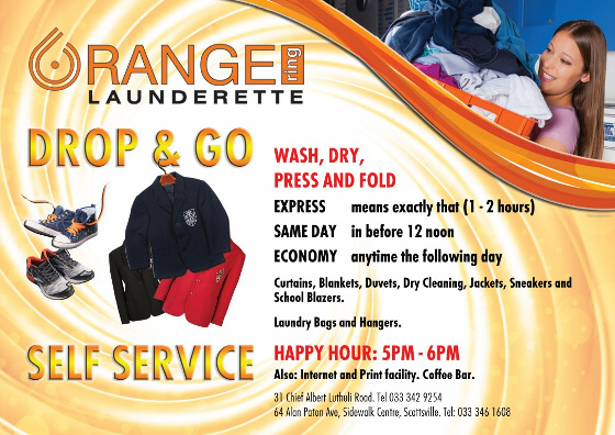 Orange Ring Drop & Go - Wash, Dry, press and Fold - Same day, express, and Economy available